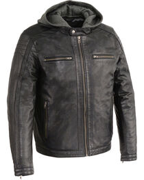 Milwaukee Leather Men's Zipper Front Leather Jacket w/ Removable Hood - Big - 4X, Black, hi-res
