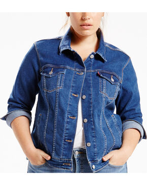 Levi's Women's Blue Flight Original Trucker Jacket - Plus Size, Indigo, hi-res