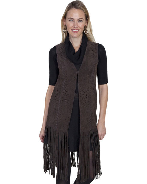 Scully Women's Long Suede Fringe Vest, Chocolate, hi-res