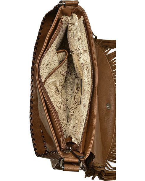 Blazin Roxx Fringe Embossed Messenger Bag, Brown, hi-res