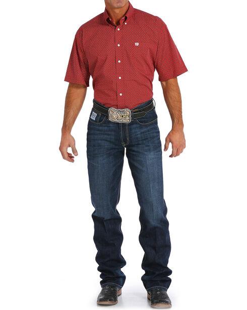 Cinch Men's Red Geometric Print Short Sleeve Shirt - Big , Red, hi-res