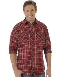 Wrangler Men's Dark Red Plaid 20X Western Shirt, , hi-res