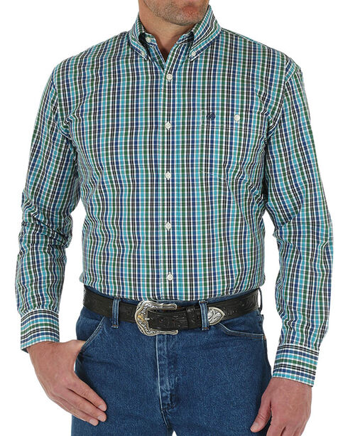 Wrangler Men's Classic Plaid Button Down Long Sleeve Shirt, Blue, hi-res