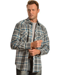 Wrangler Men's Gray & Blue Plaid Flannel Shirt, , hi-res