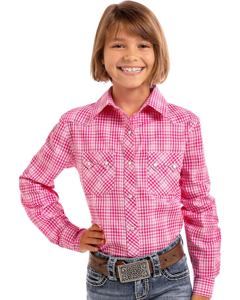Panhandle Girls' Pink Checkered Plaid Lurex Long Sleeve Snap Shirt, , hi-res
