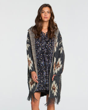 Miss Me Women's Aztec Printed Fringe Hooded Cardigan, Charcoal, hi-res