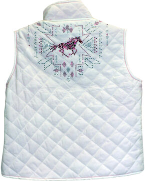 Cowgirl Hardware Girls' Tribal Horse Quilted Vest, Ivory, hi-res