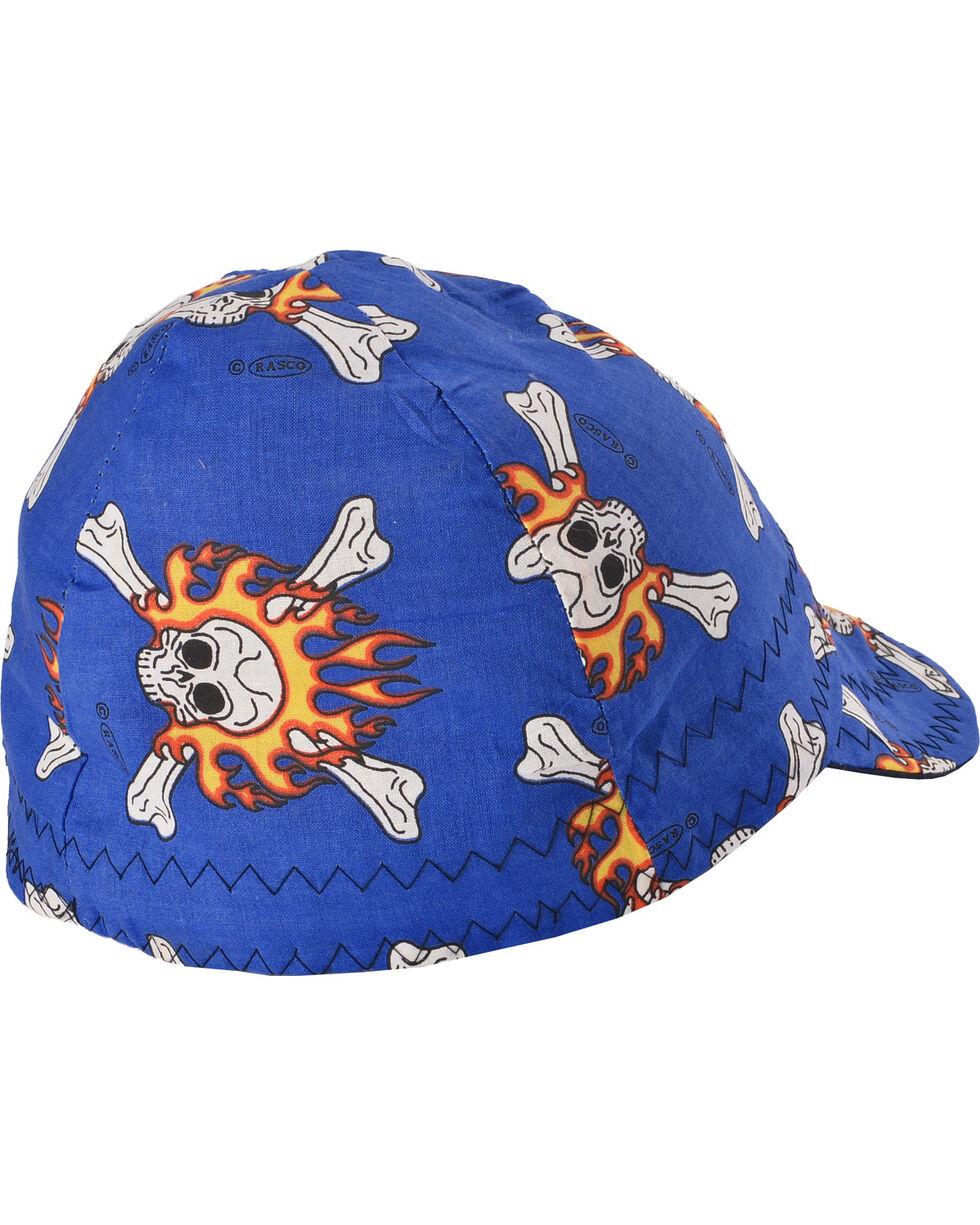 Rasco Men's Blue Flaming Skulls Non-FR Welding Cap , Blue, hi-res