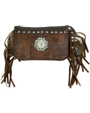 Savana Women's Brown Tooled Crossbody/Wristlet with Fringe, Brown, hi-res