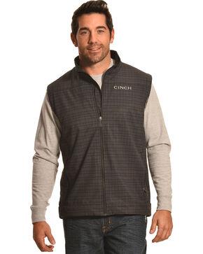 Cinch Men's Plaid Bonded Vest, Black, hi-res