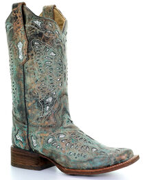 Corral Women's Metallic Butterfly Western Boots, Bronze, hi-res
