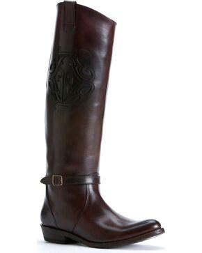 Frye Women's Rider Logo Boots - Round Toe, Dark Brown, hi-res