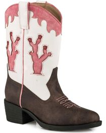 Roper Girls' Brown Desert Lights Cowgirl Boots - Round Toe, , hi-res