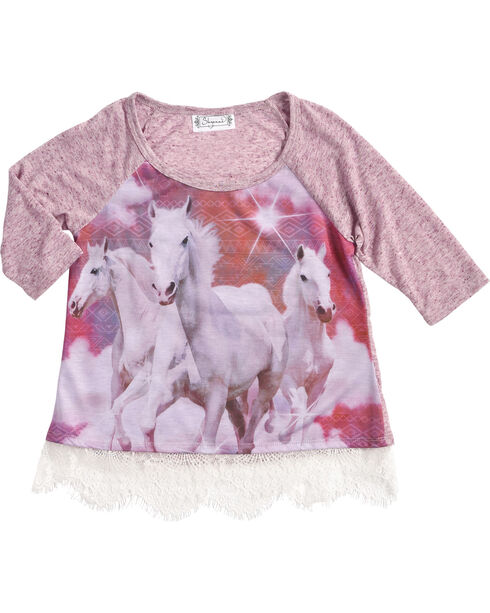 Shyanne® Girls' Running Horse Long Sleeve Shirt, Purple, hi-res