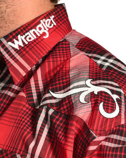 Wrangler Men's Red Logo Long Sleeve Snap Shirt, Red, hi-res