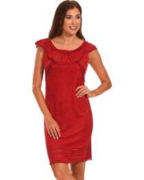 Cowgirl Justice Women's Merida Red Faux Suede Dress, Red, hi-res
