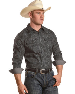 Cody James Men's Sandy Creek Print Long Sleeve Western Shirt, Grey, hi-res