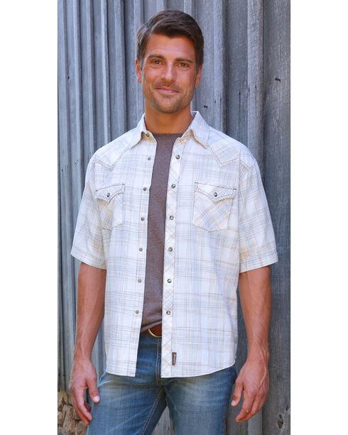 Wrangler Men's George Strait Plaid Short Sleeve Shirt, Natural, hi-res