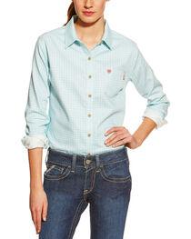Ariat Women's Fire-Resistant Aqua Tioga Plaid Long Sleeve Work Shirt, , hi-res