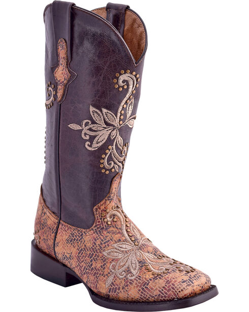 Ferrini Women's Embroidered Mosaic Western Boots - Square Toe, , hi-res