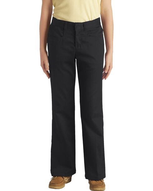 Dickies Junior Girl's Stretch Bootcut Pants - Plus, Black, hi-res