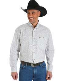 Wrangler George Strait Men's Chestnut Paisley Print Button Shirt, , hi-res