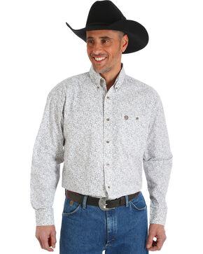 Wrangler George Strait Men's Chestnut Paisley Print Button Shirt - Big & Tall, Tan, hi-res