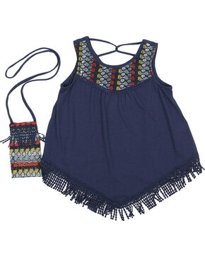 Self Esteem Girls' Knit Fringe Tank Top , Navy, hi-res