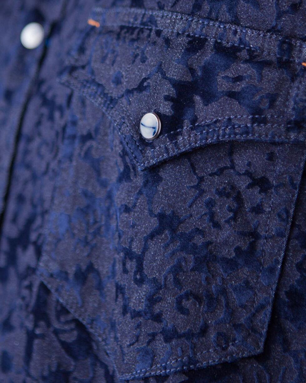 Ryan Michael Men's Indigo Flocked Jacquard Shirt , Indigo, hi-res
