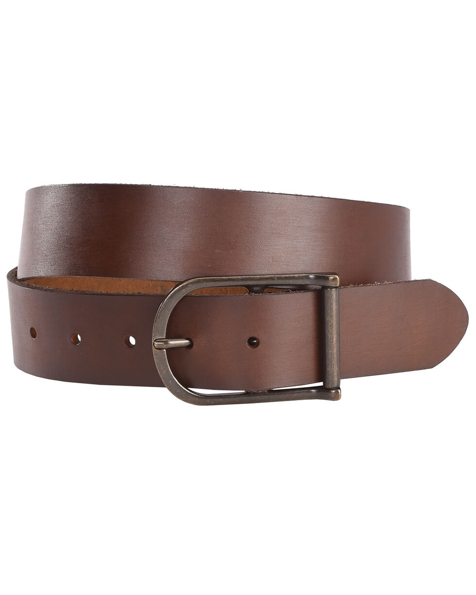 American Worker Men's Classic Center Bar Leather Belt, Brown, hi-res