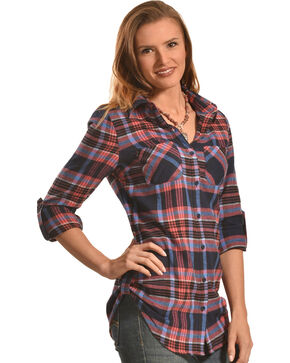 Derek Heart Women's Dreamcatcher Print Navy Plaid Tunic, Coral, hi-res