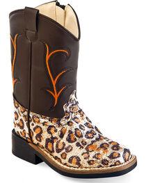 Old West Toddler Girls' Leopard Print Western Boots - Square Toe , , hi-res