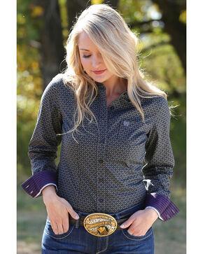 Cinch Women's Grey Small Print Long Sleeve Shirt , Black, hi-res
