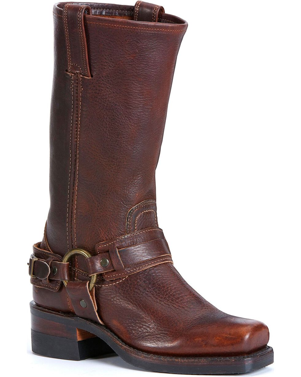 "Frye Women's Belted Harness 12"" Motorcycle Boots, Chestnut, hi-res"