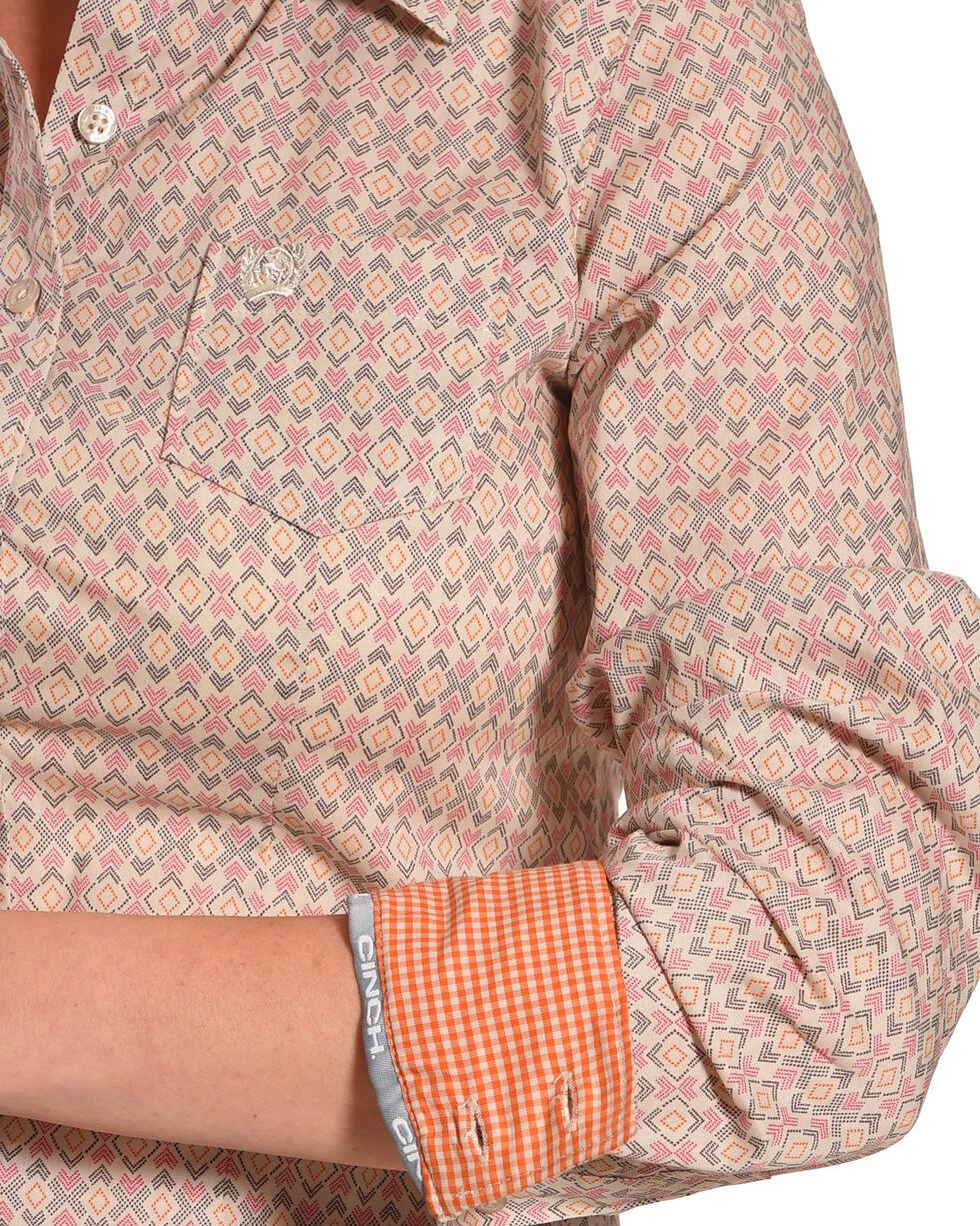Cinch Women's Purple Pointed Print Shirt , Orange, hi-res
