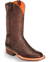 Lucchese Men's Dark Brown Lance Smooth Ostrich Boots - Square Toe , , hi-res