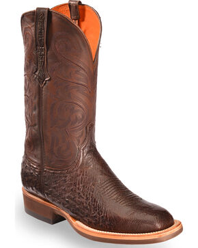 Lucchese Men's Dark Brown Lance Smooth Ostrich Boots - Square Toe , Dark Brown, hi-res