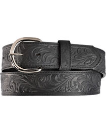 Silvercreek Black Hand Tooled Western Belt, , hi-res