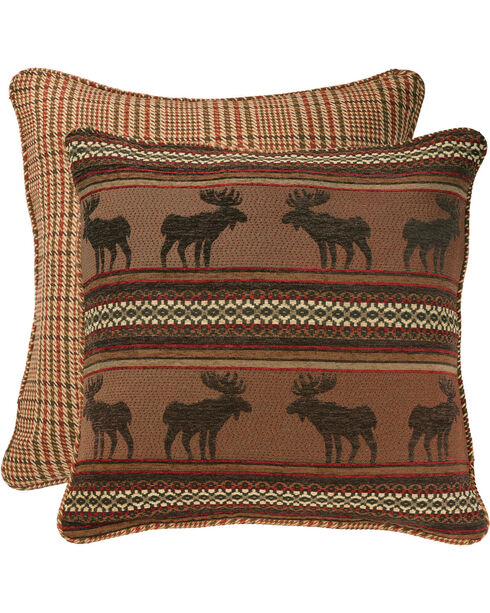 HiEnd Accents Bayfield Houndstooth Moose Euro Sham, Multi, hi-res