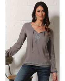 Cruel Girl Women's Charcoal Lightweight Pullover Shirt , Charcoal, hi-res