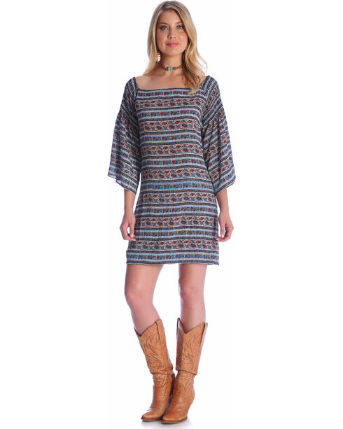 Wrangler Women't Trumpet Sleeve Off The Shoulder Dress , Multi, hi-res