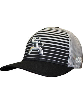 Hooey Men's Black Long Drive Flexfit Baseball Cap , Black, hi-res