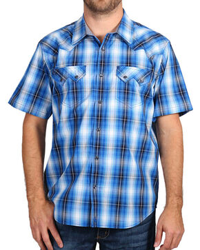 Cody James® Men's Western Plaid Short Sleeve Shirt, Blue, hi-res