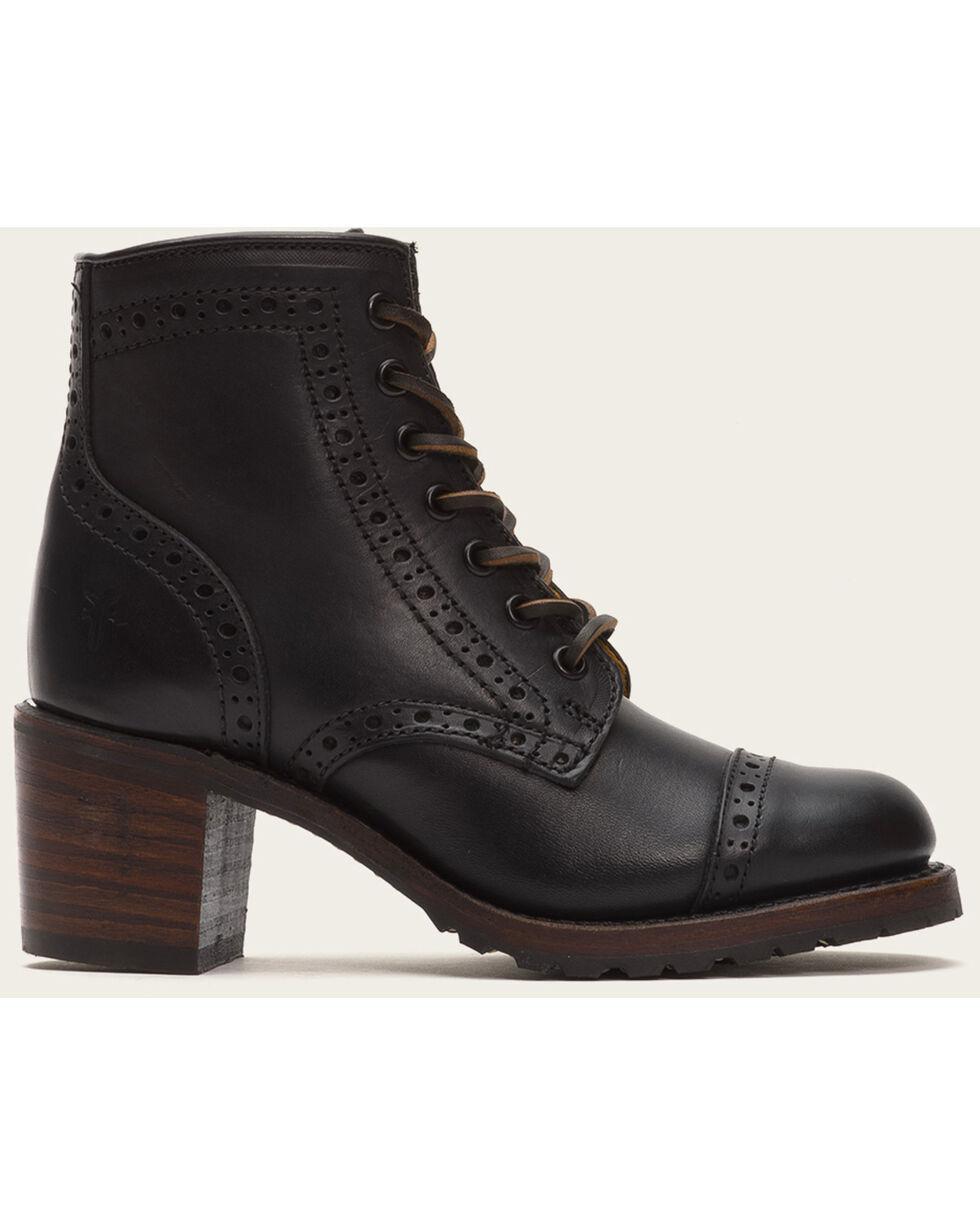 Frye Women's Black Sabrina Brogue Boots - Round Toe , Black, hi-res