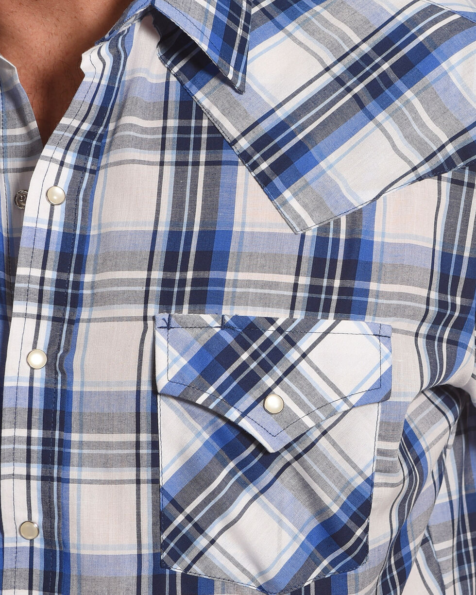 Ely Cattleman Men's Blue Short Sleeve Plaid Shirt , Blue, hi-res