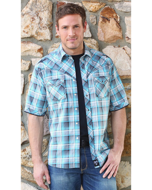 Wrangler Men's Rock 47 Plaid Short Sleeve Western Shirt, Teal, hi-res