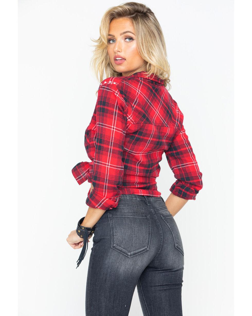 Derek Heart Women's Two Pocket Plaid Button Down Shirt, Red, hi-res