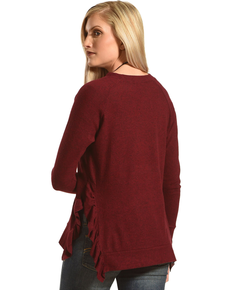 Moa Moa Women's Burgundy Knit Ruffle Sweater, Burgundy, hi-res