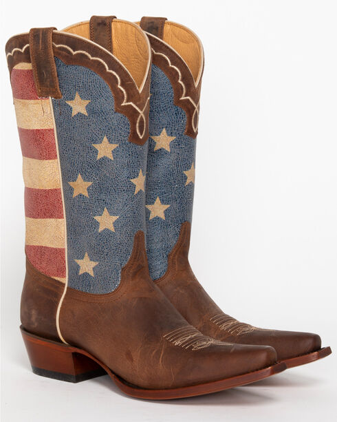 Shyanne® Women's American Flag Snip Toe Boots, Brown, hi-res