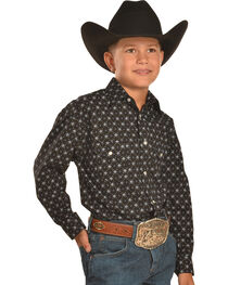Rough Stock by Panhandle Slim Boys' Black Print Western Snap Shirt, , hi-res